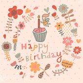 Bright floral Happy Birthday card in vector. Cute fairy with candle on tasty cupcake in flowers