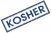 Kosher Blue Square Stamp Isolated On White Background