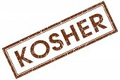 Kosher Brown Square Stamp Isolated On White Background