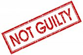Not Guilty Red Square Stamp Isolated On White Background