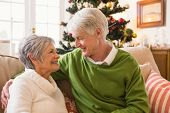 Senior couple relaxing at christmas at home in the living room