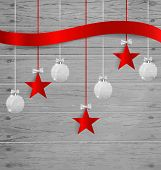 Christmas background with Christmas decoration elements. Vector illustration.