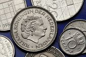 Coins of the Netherlands. Queen Juliana of the Netherlands depicted on the Dutch guilder coins.