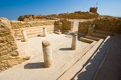 stock photo of synagogue  - The synagogue on top of the rock Masada in Israel - JPG
