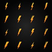 stock photo of lightning  - Lightning icon set  - JPG