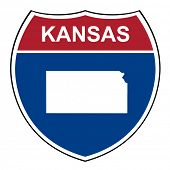 stock photo of kansas  - Kansas American interstate highway road shield isolated on a white background - JPG