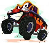 pic of monster-truck  - Mascot Illustration of a Monster Truck Revving Furiously - JPG