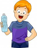 pic of bottle water  - Illustration of a Little Boy Holding a Plastic Bottle of Water - JPG