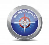 stock photo of maxim  - maximize cash flow compass sign illustration design over white background - JPG