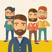 image of scribes  - Team of four happy hipster Caucasian business people with beard - JPG