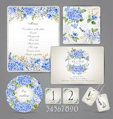stock photo of marriage ceremony  - Watercolor blue hydrangea lavender currant - JPG