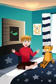 stock photo of imaginary  - A vector illustration of boy talking with his imaginary friend - JPG
