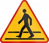 picture of pedestrian crossing  - Polish sign warning about a pedestrian crossing - JPG