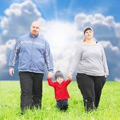 foto of obese children  - Overweight parents with her son  playing together on spring meadows - JPG