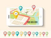 stock photo of gps navigation  - Colorful paper folded navigation pins pointing to the city map on smartphone screen - JPG