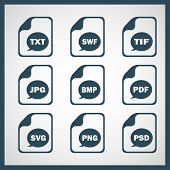 foto of png  - Set of icons indicating the digital formats - JPG