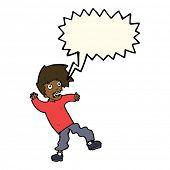 image of terrifying  - cartoon terrified man with speech bubble - JPG