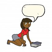 picture of pick up  - cartoon girl picking up book with speech bubble - JPG