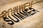 foto of heatwave  - wooden letters on old aged wooden table build the shadow word summer vintage style - JPG