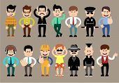 Постер, плакат: Set of men different characters poses