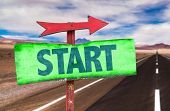 pic of fresh start  - Start sign with road background - JPG