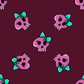 stock photo of emo  - seamless pattern in the style of emo skull - JPG
