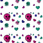 foto of emo  - seamless pattern in Emo style with skulls and hearts - JPG