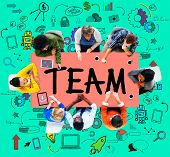 stock photo of collaboration  - Team Teamwork Support Collaboration Togetherness Help Concept - JPG