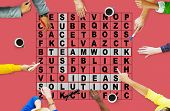 foto of scrabble  - Success Crossword Puzzle Words Achiement Game Concept - JPG