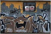 Grafito no carro de trabalho