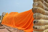 stock photo of recliner  - Wat Lokayasutharam is Temple of Reclining Buddha in Ayutthaya Thailand - JPG