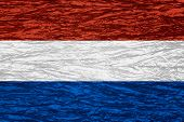 picture of holland flag  - flag of Holland or Dutch banner on canvas texture - JPG
