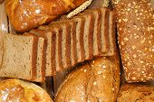 picture of whole-wheat  - top view of a variety of whole wheat bread full frame - JPG