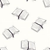 image of sketch book  - Sketched open book seamless pattern vector illustration - JPG