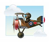 picture of fighter plane  - Vector cartoon illustration of the British WWI fighter biplane Vickers flying - JPG