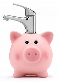 picture of water-saving  - piggy bank with tap water saving concept - JPG