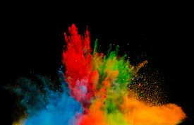 pic of freezing  - Freeze motion of colored dust explosion isolated on black background - JPG