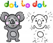 foto of koala  - Funny cartoon koala dot to dot - JPG