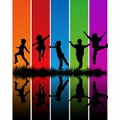 image of silhouette  - Hand drawn children silhouettes over a rainbow background - JPG