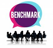 stock photo of average man  - Benchmark Standard Management Improvement Benchmarking Concept - JPG
