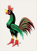 pic of roosters  - The beautiful motley rooster shouts in the sky - JPG