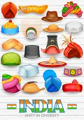 image of rajasthani  - illustration of collection of traditional Indian headgears - JPG