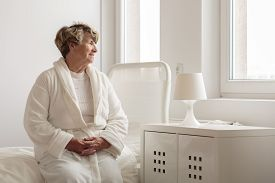 picture of hospital gown  - Lonely senior woman in dressing - JPG