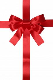 picture of bowing  - Red ribbon gift with bow for gifts on Christmas or Valentines day isolated on a white background - JPG