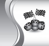 racing checkered flags and tires on vertical wave background