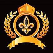 fleur de lis gold royal crest