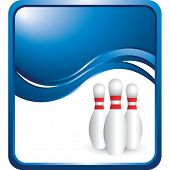 bowling pins on modern wave background