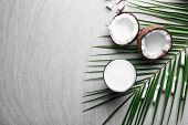 Composition with fresh coconut milk on light background poster