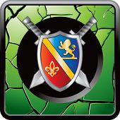 royal shield and sword on green cracked web icon