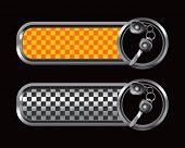 set of keys on orange and black checkered tabs